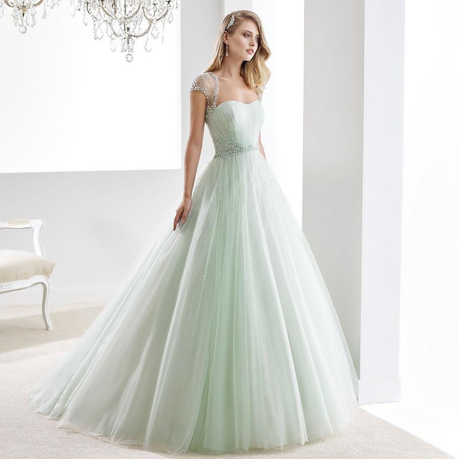 Shiny-Beading-Tulle-Strapless-A-Line-Mint-font-b-Green-b-font-font-b-Wedding-b